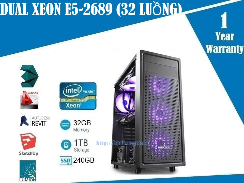 PL07- Dual Xeon E5-2689 (2.6Ghz) 16 Core / 32 Threads Quadro K620 (2GB), Ram 32GB, SSD 240GB + HDD 1TB