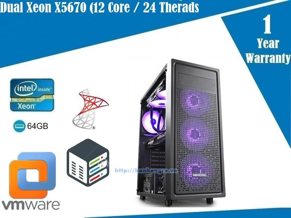 Server 02- Dual Xeon X5670, 12 Core / 24 Therads, Ram DDR3 ECC 64GB