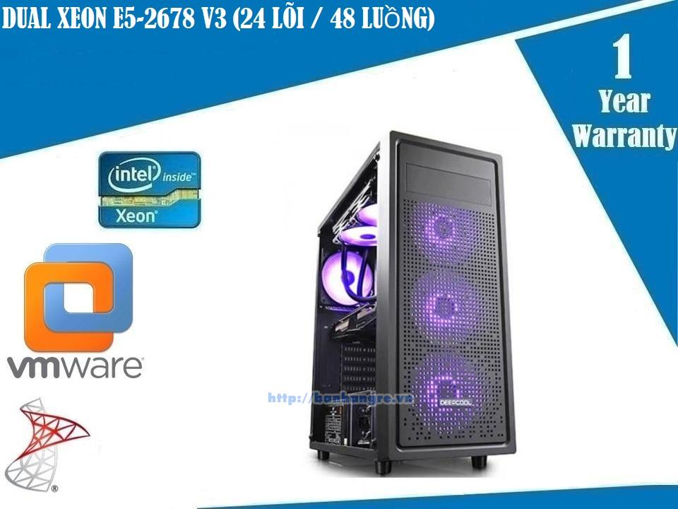 Server 07- Dual Xeon E5-2678 V3, 24 Core / 48 Therads, Ram DDR4 ECC 64GB