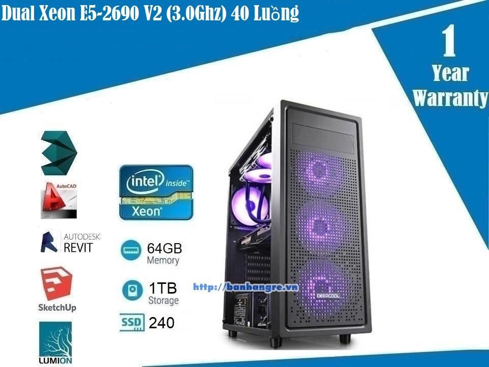 PL09- Dual Xeon E5-2690 V2 (3.0Ghz) 20 Core / 40 Threads, GTX 1060 (6GB), Ram 64GB, SSD 240GB + HDD 1TB